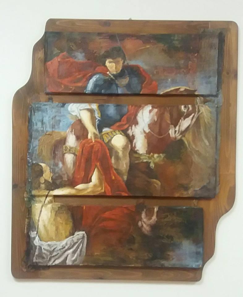 Quadro rappresentante San Martino a cavallo che porge il suo mantello rosso