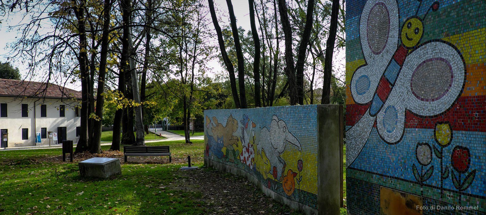 Murales colorato con la Pimpa di Altan scattata nel Parco di san Valentino a Pordenone