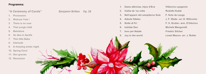 Programma Concerto di Natale 2017: Coro Primo Vere e Corale Quirita