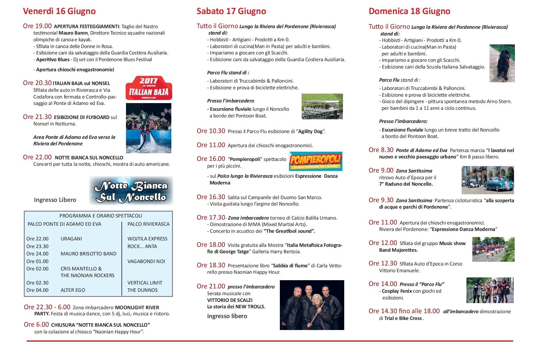 Programma Festa sul Nonsel 2017 Pordenone