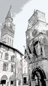 Comune di Pordenone Stilizzato in Bianco e Nero