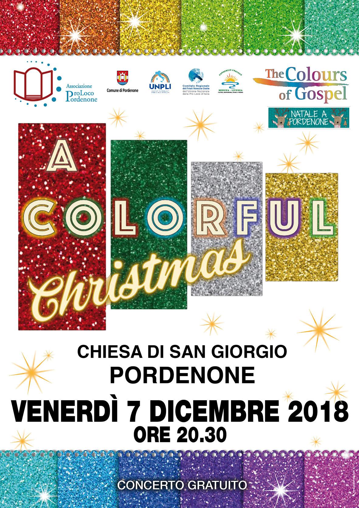 """Locandina Concerto Di Natale 2018 """"A Colorful Christmas"""""""