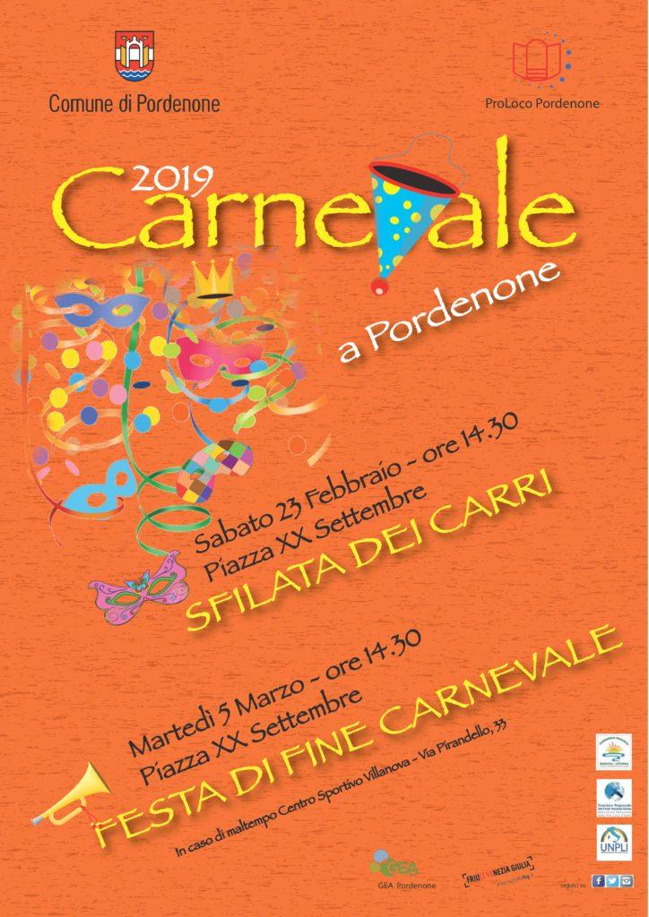 Locandina Carnevale 2019 A Pordenone: Sfilata Dei Carri E festa Di Fine Carnevale